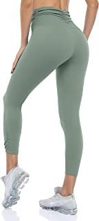 ATTRACO Naked Capri Feeling Leggings for Women High Waisted Workout Tights Tummy Control Slimming Yoga Pants with Pockets