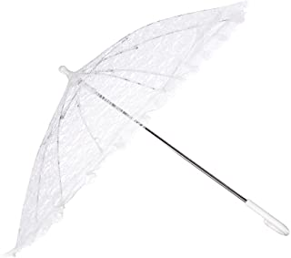 Firefly Imports PSEVELP001WH Homeford White Lace Parasol Umbrella for Bride, 26-Inch
