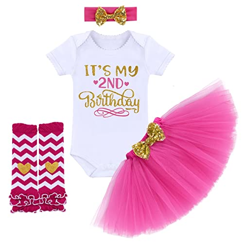 Its My 1st 2nd Birthday Outfit Baby Girl Romper Tutu Skirt Headband Leg Warmers 4pcs