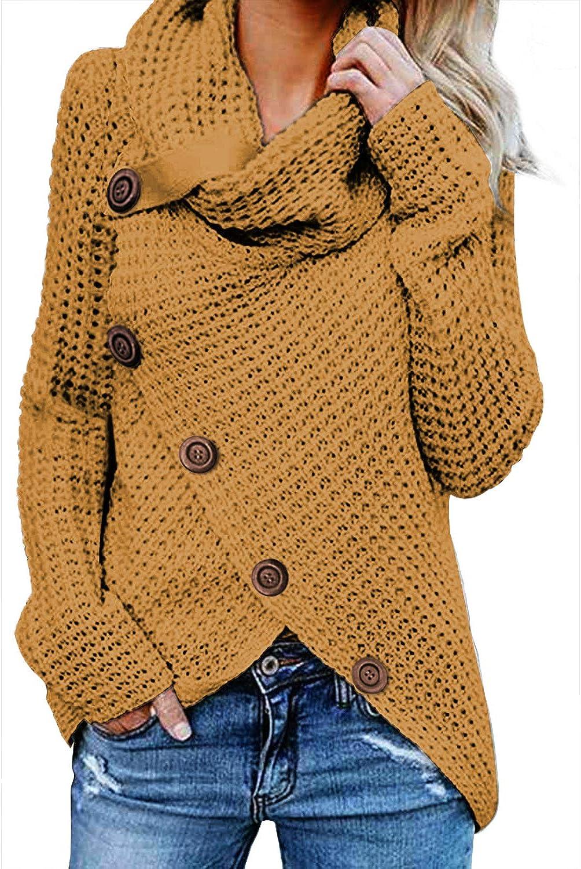 BLENCOT Women's Casual Cowl Neck Asymmetric Button Wrap Hem Pullover Sweater Jumper