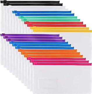 """EOOUT 24Pcs Poly Zip Envelope File Bag Bill Bag Pencil Case, 9""""x 4.7"""", 10Color Zippers, for A6 Size Files"""