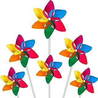 Hestya Plastic Rainbow Pinwheel, Party Pinwheels DIY Lawn Windmill Set for Teenagers Toy Garden Party Lawn Decor (36 Piece...