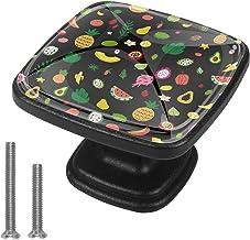 Zwarte Kast Knop Kleurrijke Fruit Dressoir Handvatten Vierkante Deur Lade Trek Keuken Trekt Handgrepen met Schroeven voor ...