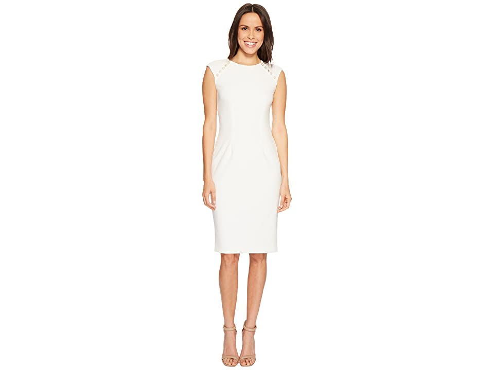Adrianna Papell Knit Crepe Buttoned Sheath (Ivory) Women