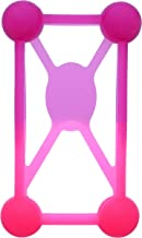 American Jewel - Universal Light Up Cell Phone Bumper Case for 3 to 6 Inch Smartphone Silicone Shockproof - Fuchsia & Pink