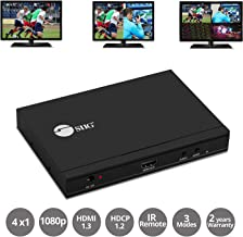 SIIG Quad Multi-Viewer 4x1 HDMI Switcher with Seamless Switch and IR Remote Control - 5 Different Display Modes - Supports 1080P @60Hz, HDMI 1.3, HDCP 1.2