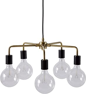 Rivet 5-Arm Mid Century Modern Ceiling Pendant Chandelier Fixture With 5 Light Bulbs - 20 x 20 x 36 Inches, Black and Brass Finish
