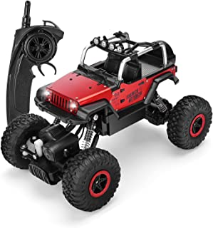 SZJJX RC Cars 1/18 Scale 4WD High Speed Vehicle 12MPH+ 2.4Ghz Radio Remote Control Off Road Racing Monster Trucks Fast Electric Race Desert Buggy with LED Light Vision Metal Shell Red