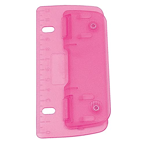 Wedo 67809Double Pocket Hole Punch Plastic for Filing for 8cm Perforation with 12cm Scale, Pink
