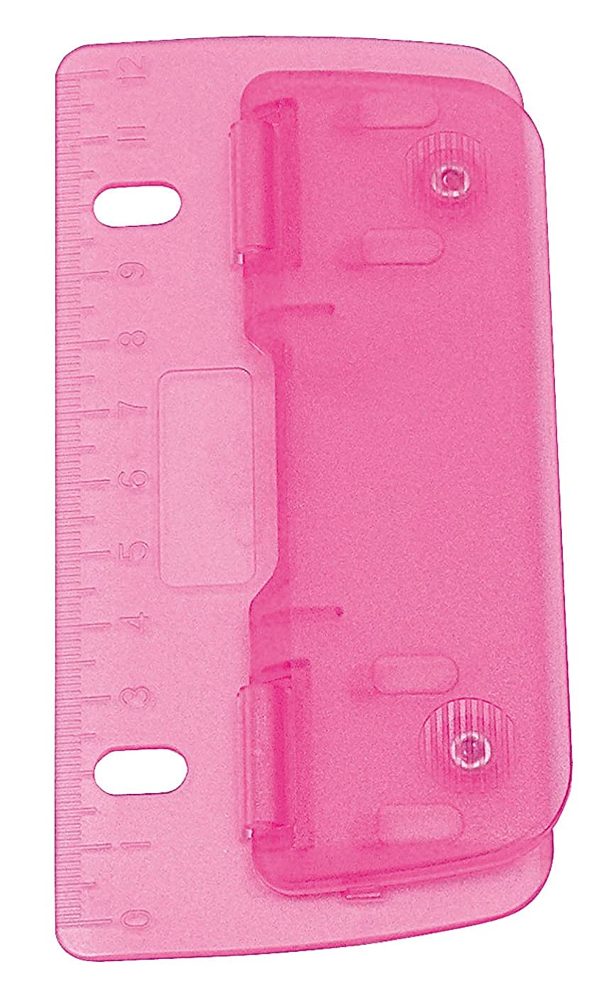Wedo 67809?Double Pocket Hole Punch Plastic for Filing for 8?cm Perforation with 12?cm Scale, Pink