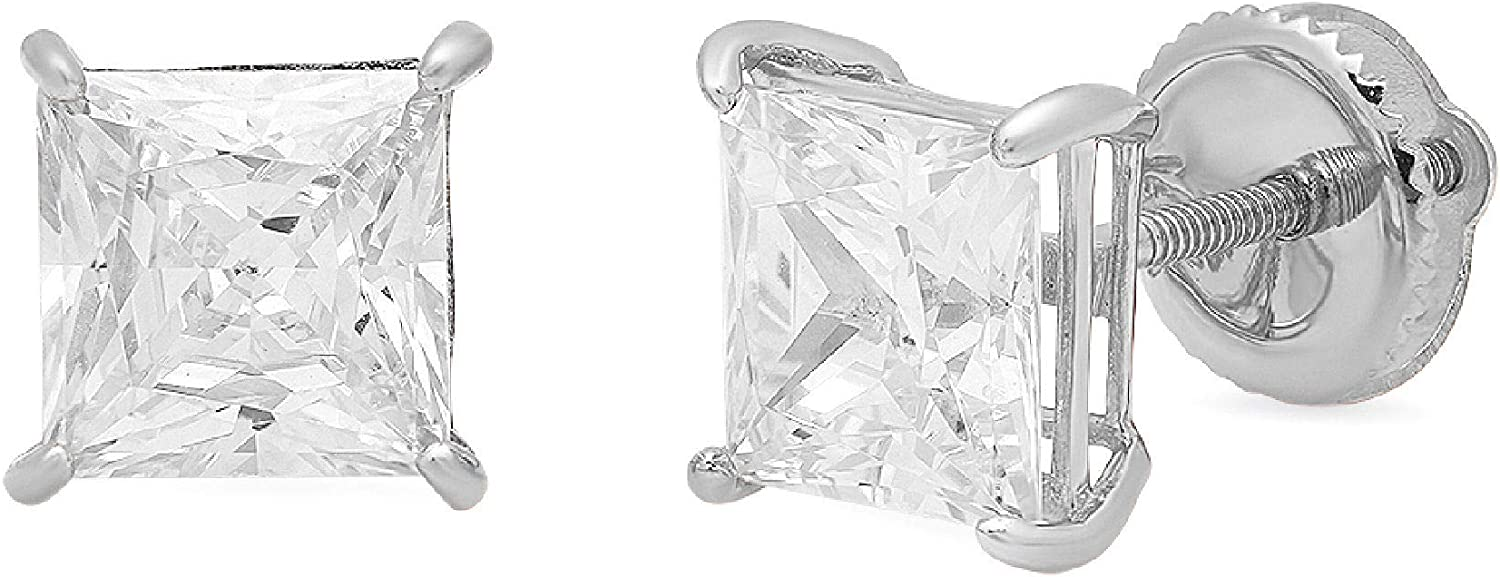 3 ct Brilliant Princess Cut Solitaire Studs Stunning Genuine VVS1 Flawless Clear Simulated Diamond Solid 18K White Gold Designer Earrings Screw back