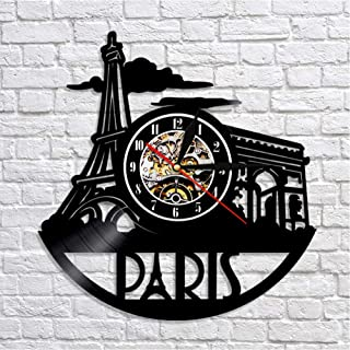 GYJCD Paris Cityscape Wall Clock Tower Vinyl Record Reloj De Pared Paris Triumphal Arch Decoración para El Hogar Ciudad de...