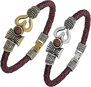 Xtrandz Combo of 2 Trishul Damru OM Rudraksha Gold and Silver Plated Mahadev Bhakt Special Kada Bracelet