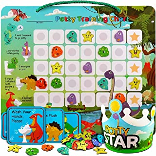 Potty-Training-Chart-with-35 Reusable Magnetic-Stickers. A Dinosaur Potty Chart that Reward Toddlers – Motivational Toilet...