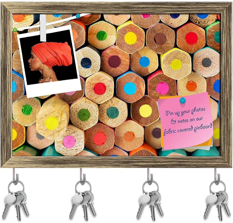 Artzfolio Multi colord Pencils Key Holder Hooks   Notice Pin Board   Antique golden Frame 14.2 X 10Inch