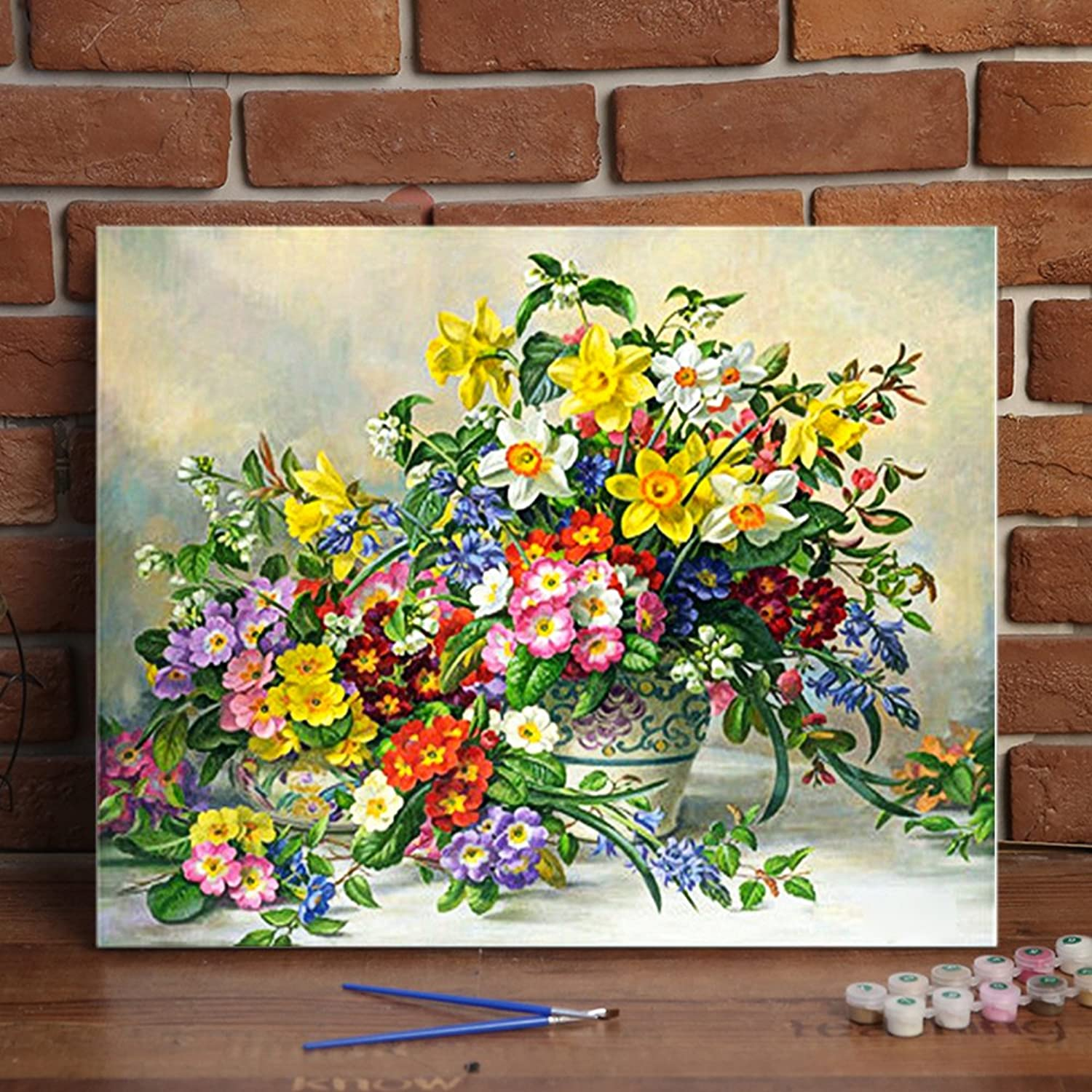 Katosca DIY Oil Paint by Number Kits Mixed Flower Drawing on Canvas Art Craft Wall Decor for Adults 16x20inch