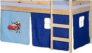 IDIMEX Lot de Rideaux cabane pour lit surélevé superposé mi-Hauteur Mezzanine Tissu Coton Motif Auto Bleu
