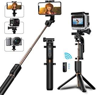 Selfie Stick Tripod, Matone Bluetooth Selfie Stick with Tripod Stand and Detachable Remote, Extendable Monopod for iPhone 11/11 Pro Max/X/XR/8 Plus, Galaxy Note 10 Plus/S10, GoPro & Action Cameras