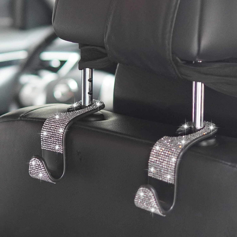 3 Packs Auto Back Seat Hangers Rear Headrest Hooks for Purse Bag Handbag Grocery Clothe CHIMUYU Car Purse Hook Bling Crystal Car Hooks for Women Girls Silver