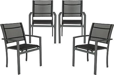 TecTake 800323 - Juego de 4 Sillas de jardín sillón balcón terraza Silla de Exterior (