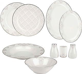 Karaca Siena Service de table élégant 56 pièces pour 12 personnes, Service de Table Porcelaine Blanche de haute qualité, A...