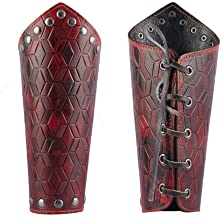 Jeilwiy Archery Arm Guard Unisex Leather Gauntlet Wristband Wide Bracer Arm Armor Cuff Father Mother Gifts