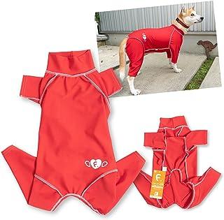 犬猫の服 full of vigor_レオタード皮膚保護服スキンウエア(R)_3/レッド_BS_大型犬用