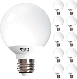 Sunco Lighting 10 Pack G25 LED Globe, 6W=40W, Dimmable, 450 LM, 3000K Warm White, E26 Base, Ideal for Bathroom Vanity or Mirror - UL & Energy Star