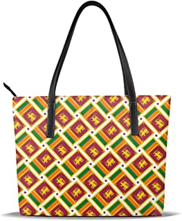 Sri Lanka Flag Weave Tote For Women Leather Handbags Shoulder Bag Purses Large Capacity