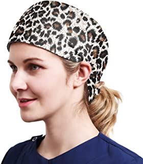 One Size Working Cap with Sweatband Adjustable Tie Back Hats Printed for Women