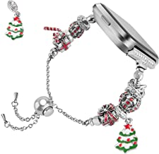 TOYOUTHS Christmas Bracelet Compatible with Fitbit Versa Bands Premium Metal Wristbands Replacement for Versa Lite Edition SE Holiday Strap Accessories Bangle with Mixed Beads