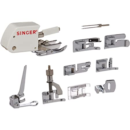 SINGER | Sewing Machine Accessory Kit, Including 9 Presser Feet, Twin Needle, and Case, Clear - Sewing Made Easy