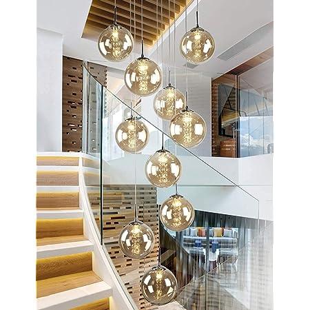 Gweat Lot de 10 chandeliers en verre pour escalier - Long lustre duplex - Pour le salon, la villa - Moderne - Minimaliste - 40 x 200 cm