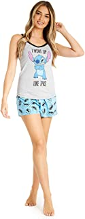 Disney Ladies Pyjamas Set, 2 Piece Short Pjs for Women Character Stitch, Womens Shorts and Nightie Top, Summer Clothes for...