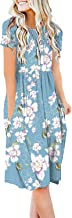 DB MOON Women Summer Casual Short Sleeve Dresses Loose Plain Dress with Pockets