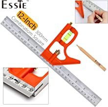 12-Inch Combination Square Ruler - Esste 1 foot (300mm) Universal Adjustable Stainless Steel Level Lay out Tool Metric & British System Graduations Heavy Duty with Accurate 45 and 90 Angles