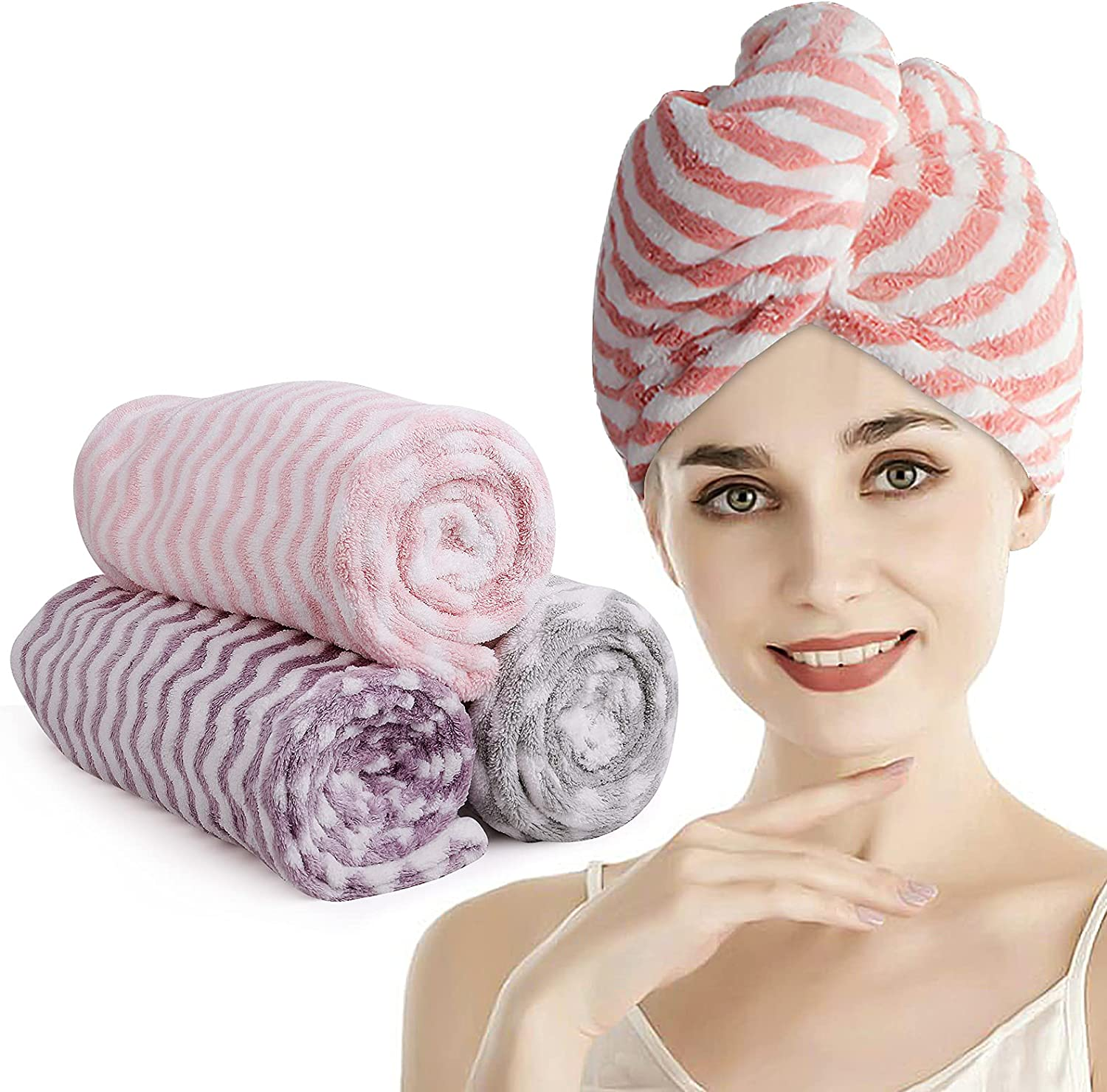 3 Pack Gifts Microfiber Store Hair Towels Tur for Absorbent Women Super