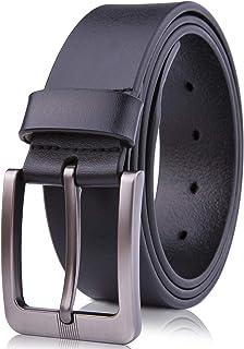 حزام جلدي أصلي للرجال - أحزمة للرجال للبدلات والجينز والزي موحد مع إبزيم ذو شق واحد - مصمم في الولايات المتحدة الأمريكية