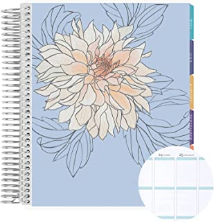 """18 Month 7"""" x 9"""" Spiral Coiled Vertical Weekly Life Planner/Agenda (July 2021 - December 2022). Flora Flexible Cover, Mid ..."""