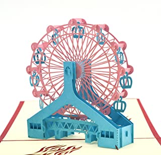 Pop up Thank You Cards, Breezypals 3D Ferris Wheel Birthday Card with Envelopes, Handmade Greeting Cards for Kids, Friends