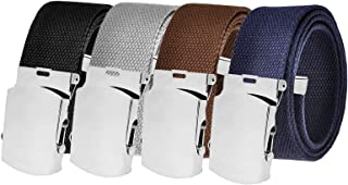 All Sizes Men's Golf Belt in 1.5 Silver Slider Buckle with Adjustable Canvas Web