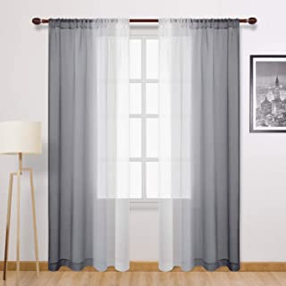DWCN Grey Faux Linen Ombre Sheer Curtains - Semi Voile Gradient Rod Pocket Curtains for Bedroom and Living Room, Set of 2 ...