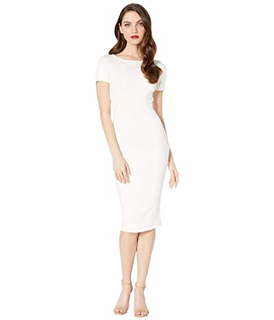 Unique Vintage 1960s Short Sleeve Stretch Mod Wiggle Dress (Ivory White) Women