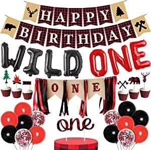 Lumberjack First Birthday Party Decoration, Buffalo Plaid Decor Happy 1st Birthday Banner Camping Wild Bear for Wonederland Baby Girl Boy