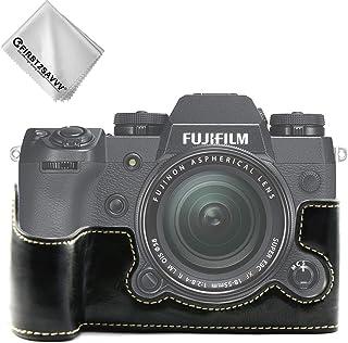 FIRST2SAVVV 黒 富士フイルム Fuji Fujifilm X-H1 XH1 専用 PU 半分レザー レフ カメラバッグ カメラケース +クリーニングクロス XJPT-XH1-D01