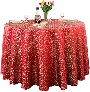 Duanduanli Mantel Redondo, Tela de poliéster Hotel Impermeable Hotel Mantel Falda de Mesa Restaurante Mesa de Centro Mantel (Color : Bright Red, Size : Square 120 * 160cm)
