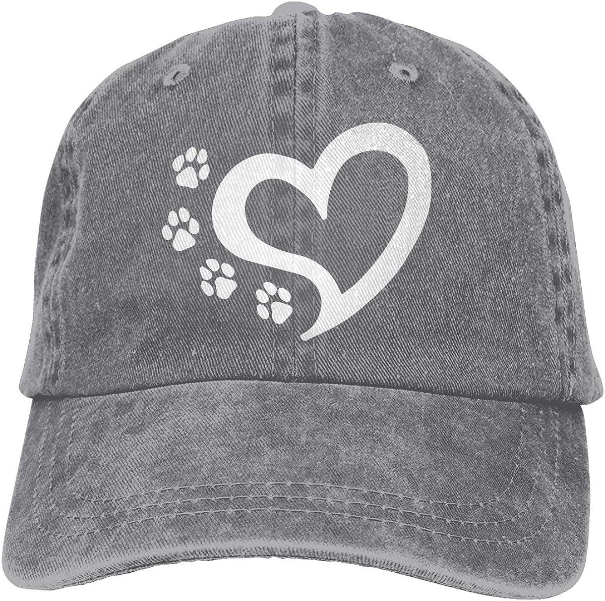 Men&Women Cat Dog Paw Prints Heart-1 Vintage Jeans Baseball Cap Adjustable Snapback Cap