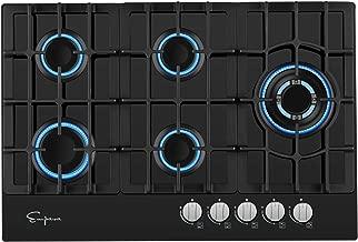 Empava 5 Italy Sabaf Burners Gas Stove Cooktop Black Tempered Glass EMPV-30GC5L70A, 30 Inch