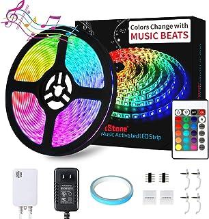 LED Strip Lights Music - DotStone Waterproof RGB LED Light Strip Kit 16.4ft SMD 5050 Tape Lights, Color Changing Rope Lights with Remote for Bedroom Home Kitchen TV Party Desk Room