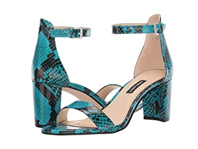 Nine West Pruce Block Heeled Sandal (Aqua) Women